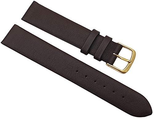 17mm Kalbsleder Uhrenarmband Made in Germany in Dunkelbraun mit goldfarbender Dornschließe MJ-Design-Germany inkl. Myledershop Montageanleitung