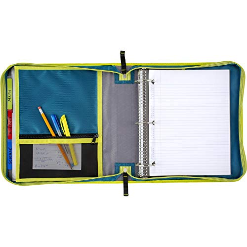 Five Star Zipper Binder, 2 Inch 3 Ring Binder, Removable File Folders, Durable, Teal/Chartreuse (29036IH8) Photo #2
