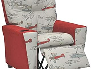 Kidz World Vintage Airplanes Kid's Recliner with Cup Holder, Red Suede