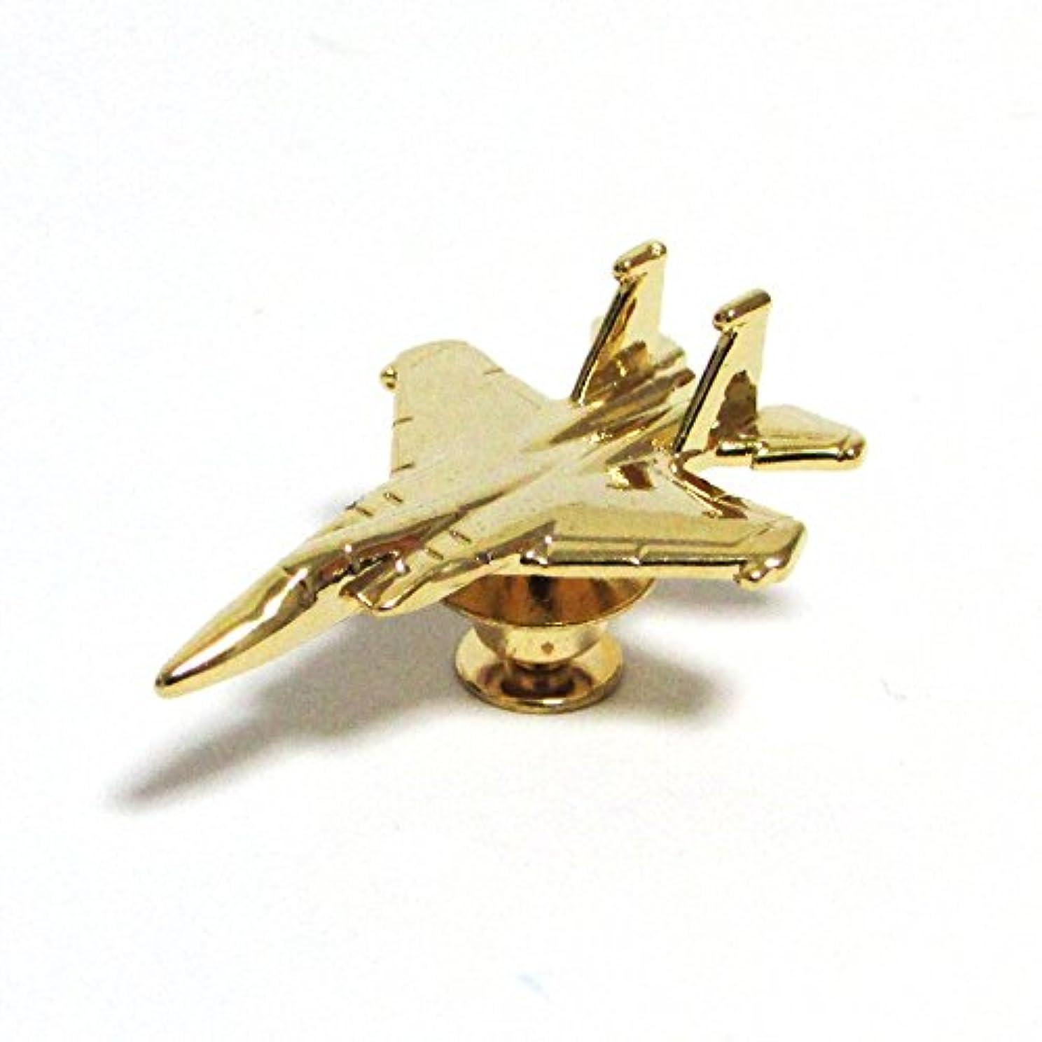 戦士手紙を書く情緒的自衛隊グッズ ピンズ 空自戦闘機 3Dピンバッジ F15 ゴールド