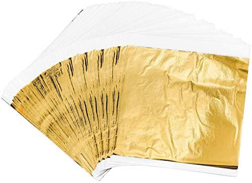 200 Pan de Oro Manualidades, 14 X 14 cm Hojas de Papel de Oro de Imitación Para Proyecto Artístico