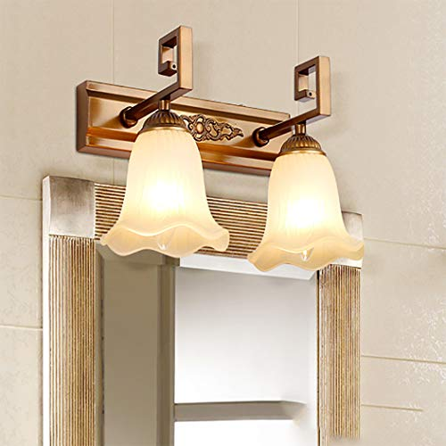 LHFJ Vintage wandlamp badkamer wasruimte boven de spiegel verlichting make-up spiegel make-up lamp, mat glas scherm, ijzer handwerkbody E14, 28 cm / 11 inch
