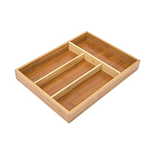 Relaxdays Bestekbak van bamboe, h x b x d: ca. 4 x 25 x 34 cm bestekbak met 4 vakken als keukenorganizer en lade-inzet, onderhoudsvriendelijke ladenkast voor bestek organizer van hout, naturel