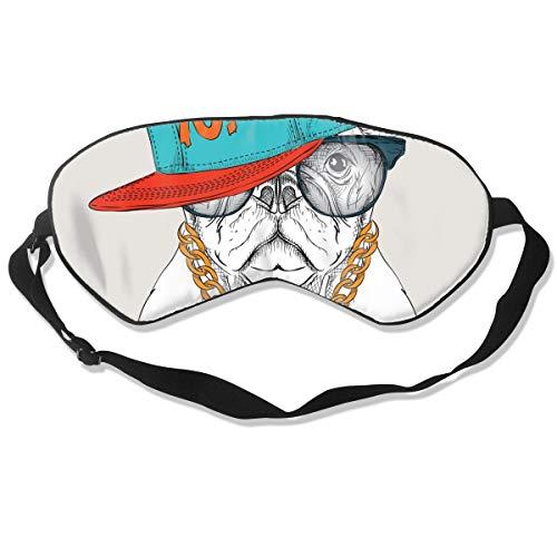 Optimale Schlafmaske für die Augenmaske, geeignet für Reisen, Nickerchen, Meditation, Augenmaske mit verstellbarem Riemen, Männlich, Weiblich, Hunde-Poster mit Hip Hop Hut
