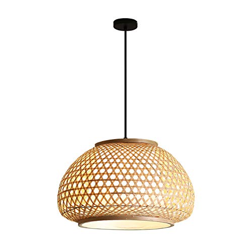 Hines Moderno bambú tejido colgante luz E27 colgante alambre ajustable araña simplicidad creatividad suspensión luz restaurante café droplight dormitorio noche lámpara de noche