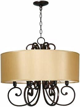 World Imports Rue Maison 6-Light Iron and Euro Bronze Chandelier