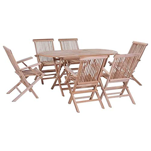 BNXXINGMU 7pcs Simple Outdoor Dining Set with Folding Chair Furniture Set for Garden Patio Balcony Modern Table