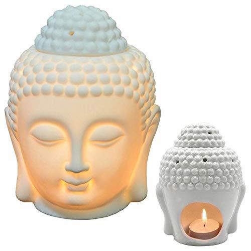 Ceramic Buddha Head Statue Oil Burner Translucent Ceramic Aromatherapy Diffusers Yoga Spa Home Bedroom Decor Gift (White)