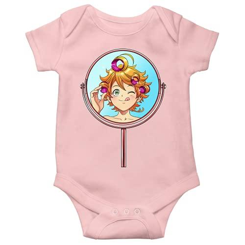 OKIWOKI The Promised Neverland Lustiges Rosa Kurzärmeliger Baby-Bodysuit (Mädchen) - Emma (The Promised Neverland Parodie signiert Hochwertiges Baby-Bodysuit in Größe 12 monate - Ref : 1173)