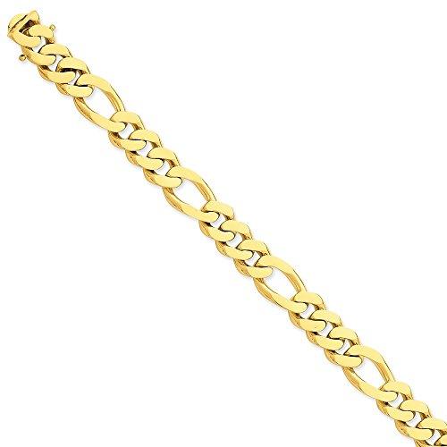 Pulsera de oro amarillo macizo de 14 quilates de 11,8 mm con eslabones de 21,5 cm para mujer