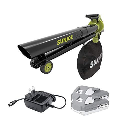 Sun Joe 24V-X2-BVM143-LTE Cordless Blower Vacuum Mulcher, Kit (w/ 2 x 2.0-Ah Batteries + Quick...