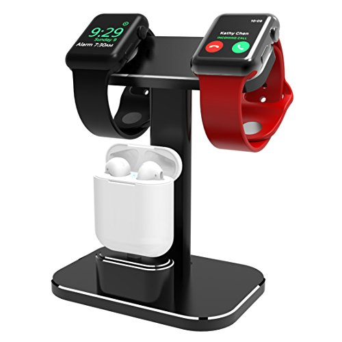 XUNMEJ 2 in 1 Watch Stand for Apple Watch iWatch Charging Stand Dock Station Holder Aluminum Airpods Stand for Apple Watch Series 2/1 (38mm 42mm) Airpods (Black)