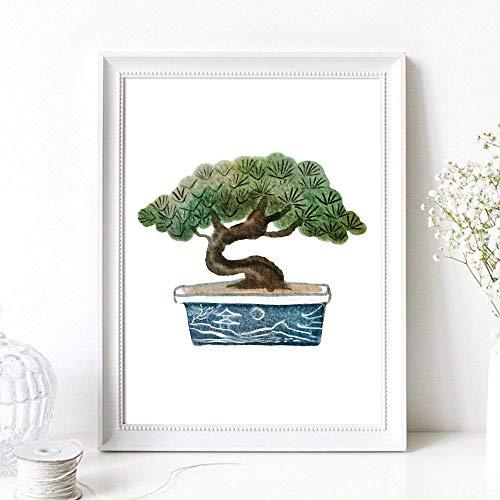 Din A4 Kunstdruck ungerahmt - Bonsai - Baum Kiefer Miniaturbaum Bäumchen - Garten - Japan Asien Aquarell Natur Druck Poster Bild