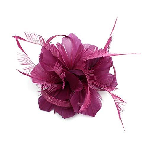 Damen Feder Haarschmuck Elegant Fascinator 50er Jahre Haarklammer für Abendparty, Cocktail, Abschlussball, Hochzeit (Violett)