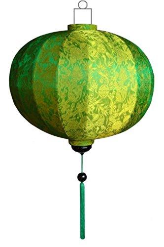 Lampionsenzo Vietnamesische Seide Lampion Rund Grün by