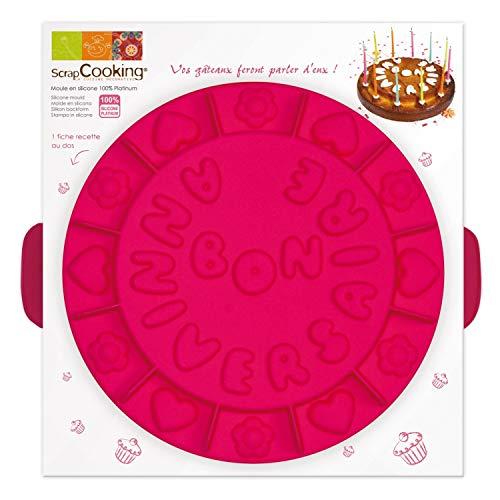 SCRAP COOKING 3003 Moule Créatif - Bon Anniversaire, Silicone, Rose, 32 x 31 x 8 cm