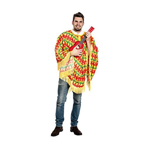 Kostümplanet® Poncho Chilli Mexiko-Kostüm Herren Mexikaner ONE Size