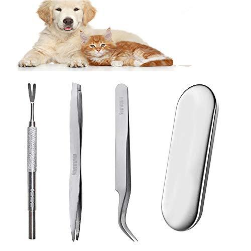 3 st fästingborttagningsverktygsset, rostfritt stål fästingborttagare för hundar katter hästar, säker fästingborttagare kit för husdjur inklusive 1 dubbelsidig pincett 1 tickkrok 1 tickpincett, järnlåda, julklapp