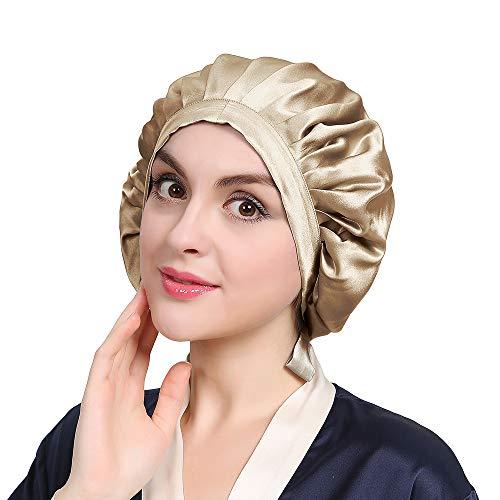 LilySilk Seide Schlafmütze Atmungsaktive Nachtmütze Kopfbedeckung mit klassischer und bequemer Form(Taupe) Verpackung MEHRWEG