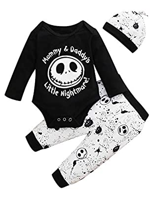 Dramiposs Baby Boy Halloween Outfits Infant Nightmare Before Christmas Clothes (Black,6-12 Months)