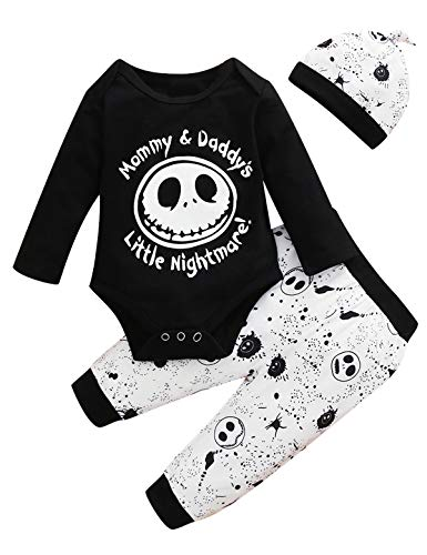 Dramiposs Baby Boy Skeleton Outfits Infant Nightmare Before Christmas Clothes (Black,12-18 Months)