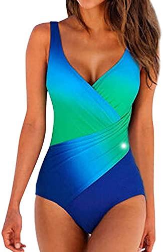 SACKDERTY Mujeres Damas Tallas Grandes Traje de baño Una Pieza Color Degradado Novedad Bikini Set Traje de baño de Cintura Alta Pushup Traje de baño Ropa de Playa Moda Tankini