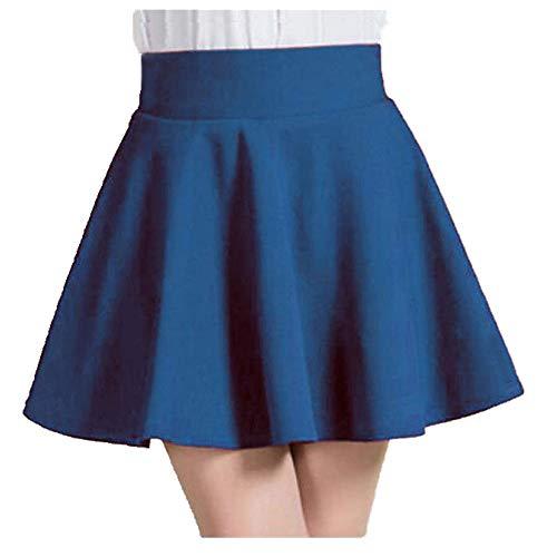 Invierno y Verano Estilo Mujeres Falda Elástica Señoras Midi Falda Sexy Chica Mini Faldas Cortas Azul Blue1 48