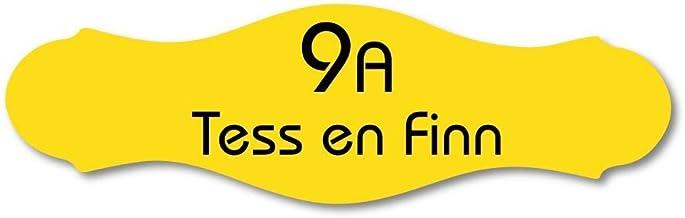 Naamplaatje geel sierlijk t.b.v. brievenbus, 12x4 cm
