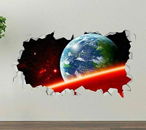 3D Etiqueta De La Pared Planeta Espacial 19.7X27.6 Pulgadas,Vinilos De Pared Destrozados Mural Calcomanías Para Dormitorio Pegatinas De Papel De Pared Desmontable.