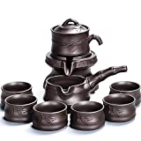 HGFDSA Tea Set, Chinese Kungfu Tea Set Traditional, Automatic Stone Mill Teapot with Strainer, Service for Women Men Adults Tea Lovers, Ceramic Teacup Modern for Gift and Household Office