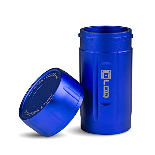 Canniloq – 120cc Sapphire Blue – Premium Aircraft Grade Aluminum Odor Smell Proof Container and Airtight Locking Stash…