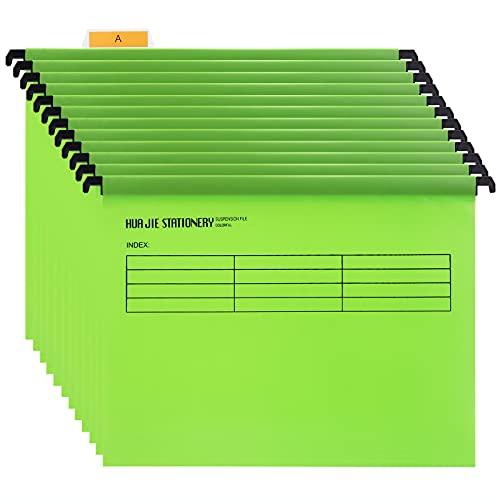 Hängemappen A4 mit Tabs und Karteneinlagen für Aktenschränke (12 Stück, Grün) Polypropylen A4 Hängehefter für Büro Zuhause Schule