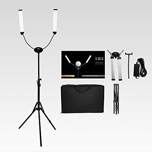 Yidoblo FX-480ii plegable 50W 3200K-5500K LED Video Studio doble brazo relleno anillo luz con puerto de carga USB, trípode de 200 cm para cámara de teléfono, vídeo de maquillaje YouTube