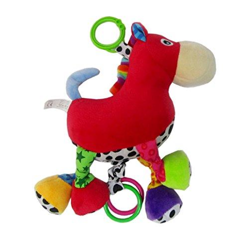 Happy Cherry - Boîte à Musique Animal - Hochet en Peluche - Jouet d'éveil pour Poussette bébé - Cheval