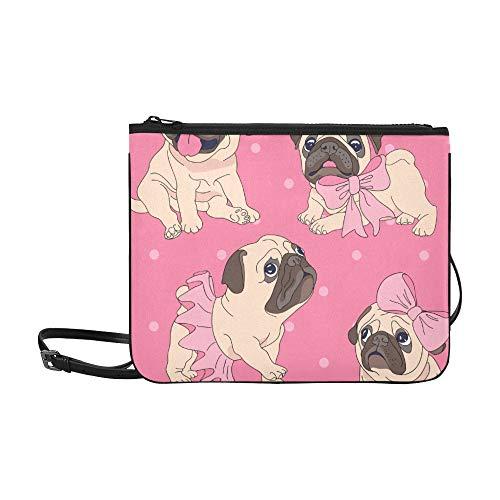 WYYWCY Nette französische Bulldogge-Welpen-Muster-Gewohnheits-hochwertige Nylon-dünne Handtasche Umhängetasche Umhängetasche