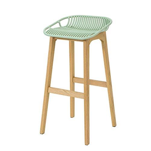SoBuy FST77-GR Design Barhocker mit Fußstütze Barstuhl Tresenhocker Hochhocker Frühstücksstuhl Beine aus Kautschukholz Grün Sitzhöhe: 79cm