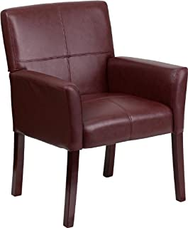 Flash Furniture Burgundy Leather Executive Side Reception Chair with Mahogany Legs
