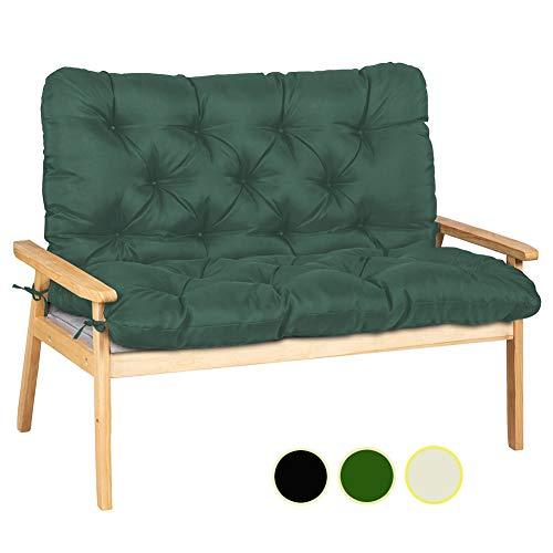 Ommda Zitkussen van hout, keuken, katoen, zitkussen voor tuinbank, waterafstotend, kussen, lang gevoerd met spalier 150x100x10cm Donker Groen