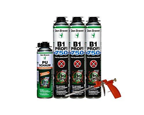 Brandschutzschaum B1 Den Braven 750ml, schwer entflammbar, feuchtigkeitshärtend 3 Stück + Reiniger + Schaumpistole einfache Ausführung Orange