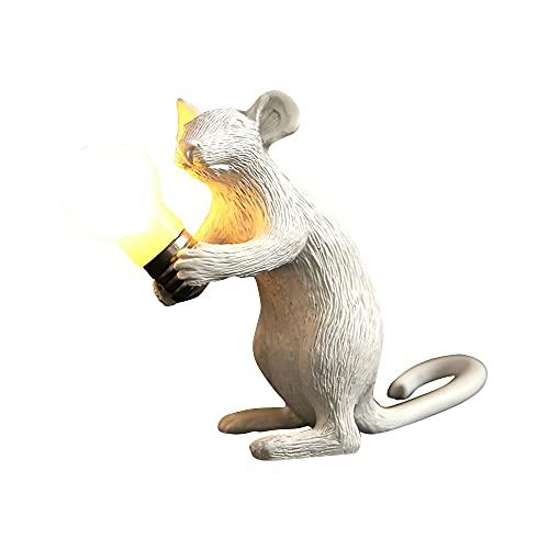 Warmdeco Mini lámpara de Mesa con ratón, luz de Noche Decorativa para Escritorio, lámparas de Escritorio de Resina LED para el hogar, para la Sala de Estar, Oficina