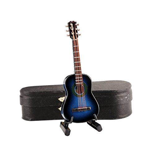 """Dselvgvu Wooden Miniature Guitar with Stand and Case Mini Musical Instrument Replica Collectible Miniature Dollhouse Model Home Decoration (Classic Guitar:Blue, 3.93""""x1.42""""x0.56"""")"""