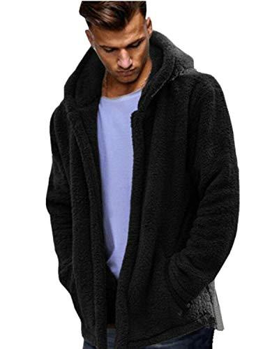 MODCHOK Herren Teddy-Fleece Jacke mit Taschen Warm Plüsch Mantel Hoodie Kapuzenpollover Sweatshirt Outwear 1-Schwarz XL