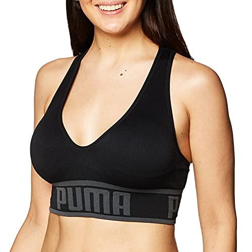 PUMA Women's Seamless Sports Bra, Black, XL