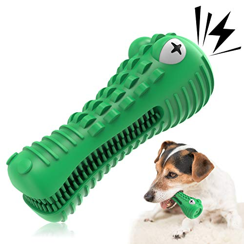 Dog Dental Chew Toy - Puppies Durable Rubber Squeaky Toys - Toy Toothbrushes Dogs Teeth Cleaner and Fresh - Apply Toothpaste on Puppy Toothbrush - Cleaning Brush Included - Pet Tooth Plaque Remover