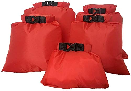 U/D 5 bolsas secas impermeables para aguas arriba, 1,5 L, 2,5 L, 3,5 L, 4,5 L, 6 L, para camping, barco, kayak, rafting (rojo)
