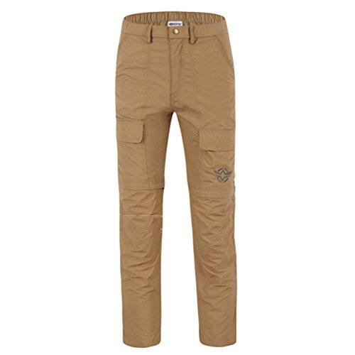 emansmoer Homme Zip Off Pantalon Armée Militaire Combat Outdoor Marche Randonnée Pêche Sport Respirant Quick Dry Pantalon (Medium, Khaki)