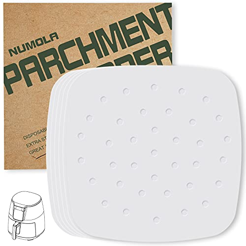 Numola Air Fryer Liners - 7.5 Inches, 100 pcs Perforated Parchment Paper Compatible with Philips, Cozyna, Secura, NuWave, Chefman, GoWISE USA, BLACK+DECKER, COSORI …
