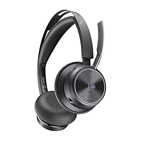 Poly - Voyager Focus 2 Office USB-A(Plantronics) - Bluetooth Dual-Ear (Stereo) Headset with Boom Mic - USB-A PC/Mac/Desk Phone Compatible - Active Noise Canceling - Works with Teams (Certified)