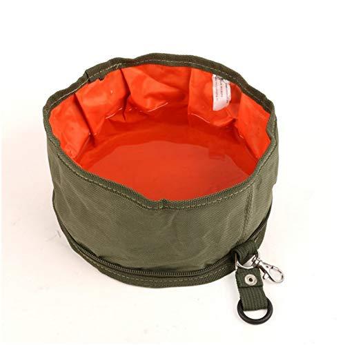Smklcm huisdier draagbare opvouwbare gebruiksvoorwerpen hond hond Oxford opvouwbare doek kom hond voedsel kom, Militair Groen