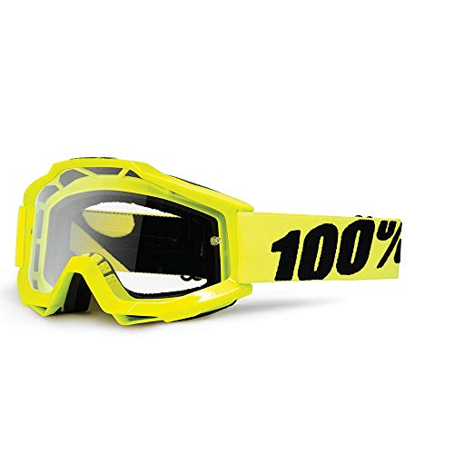 100% Accuri Motocross MTB Goggles Flou Yellow / Clear Lens